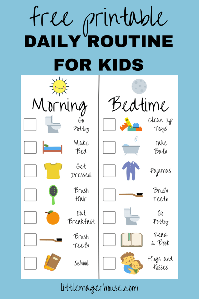 Free Printable Kids Routine Checklist