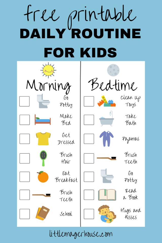 Free Printable Kids Routine Checklist