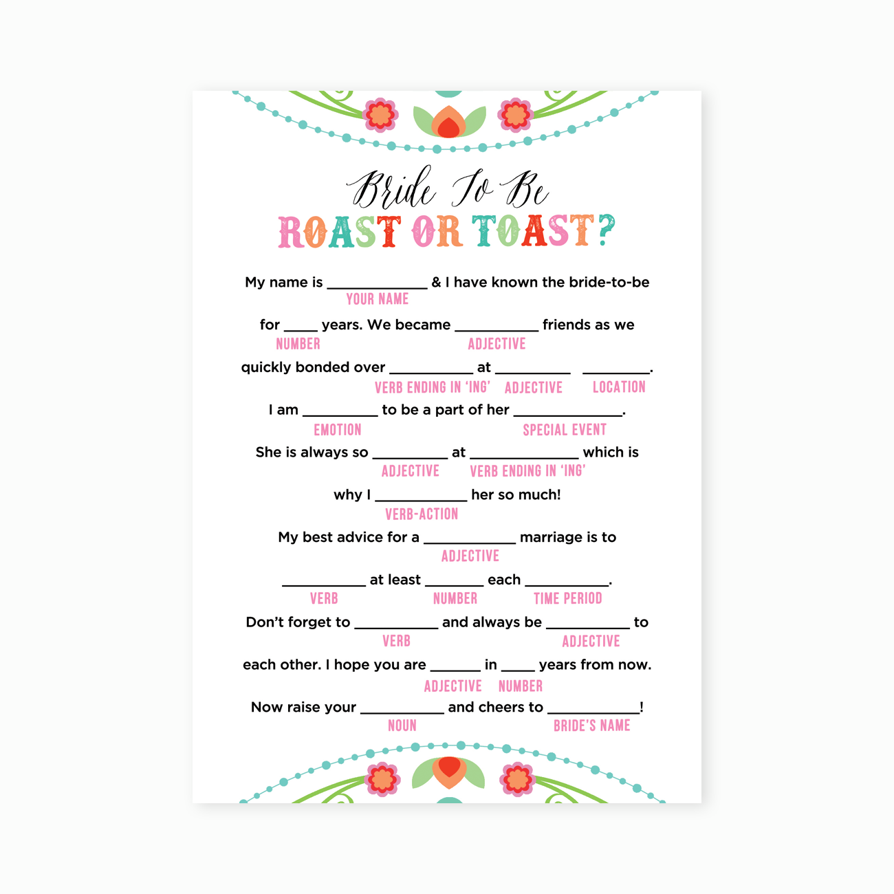 Printable Fiesta Roast Or Toast Bridal Shower Game
