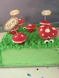 Green grass, mushrooms, eyes, wonderland