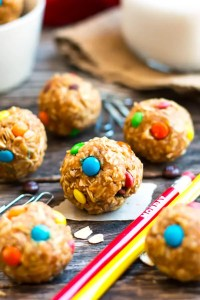 Yummy Monster Cookie Bites Healthy Snacks littlemissblog.com