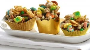 Pot of Gold Chex Mix, the perfect snack on St. Patricks Day littlemissblog.com