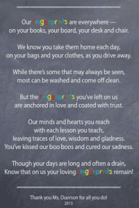 Fingerprints Poem for Teacher. Teachers Appreciation Week littlemissblog.com