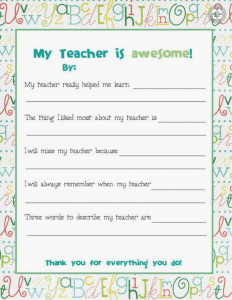 My Teacher Is Awesome Printable littlemissblog.com