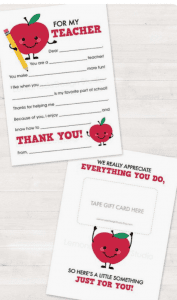Printable Teacher Appreciation Gift from Etsy