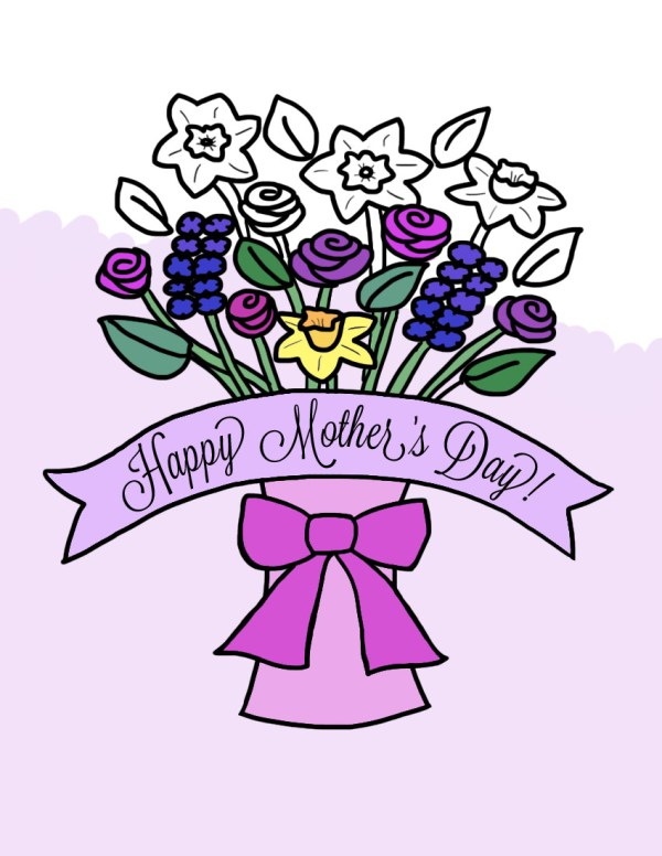Crafts - Mother's Day Flower Bouquet in Vase Coloring Page