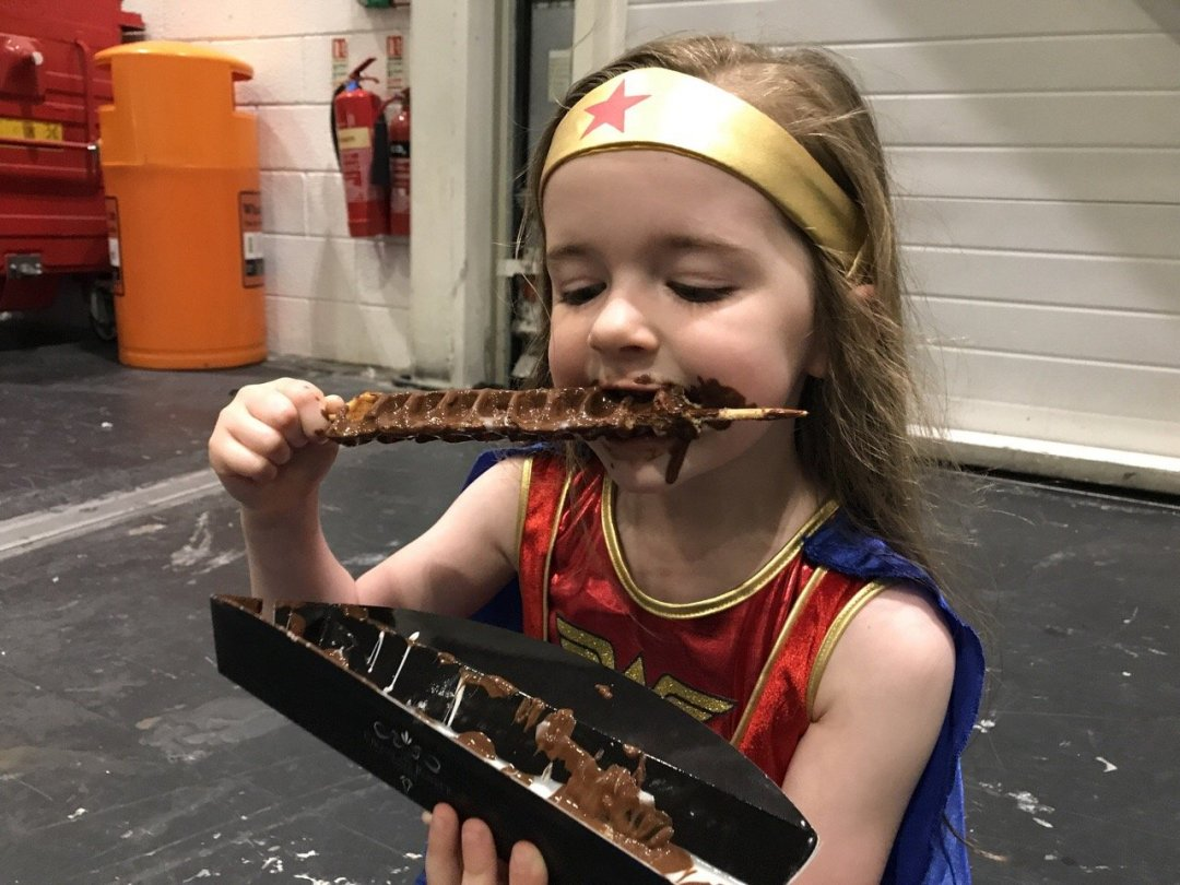 Comic Con for kids eating waffle