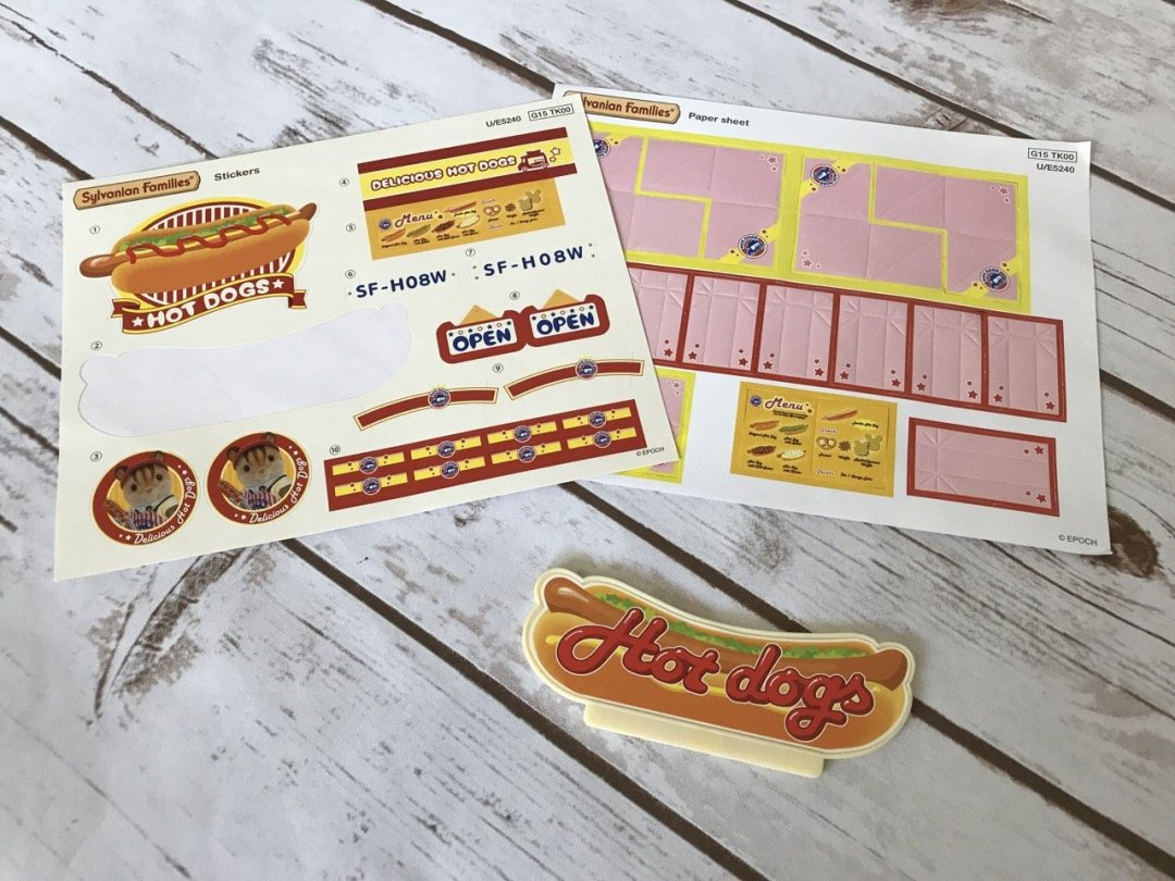 Sylvanian Families Hot Dog Van stickers