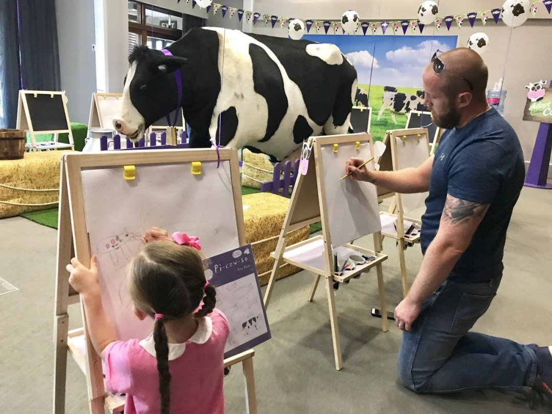 Cadbury's Adopt a Cow Eden and daddy drawing
