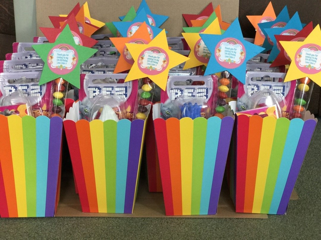 Trolls Party Rainbow party favour boxes