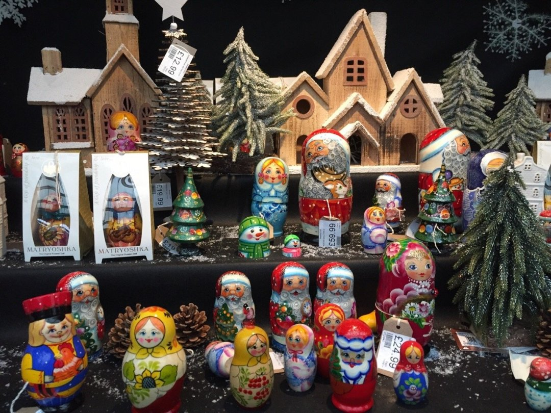 Christmas German Market in Essex - A selection of brightly coloured russian dolls