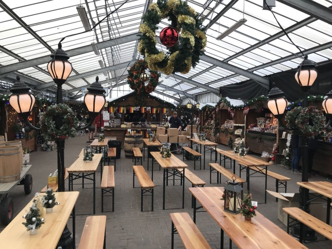 Christmas German Market in Essex - A view of the stalls and seating area