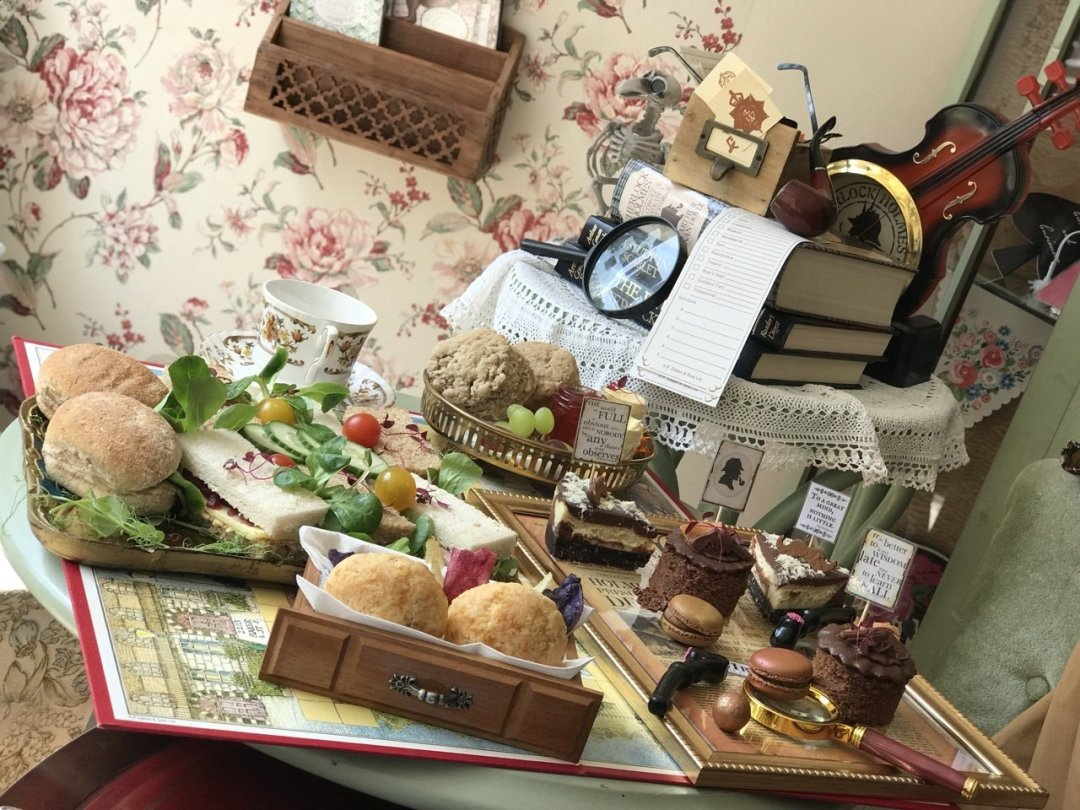 Scones, sandwiches and cakes set up for the Sherlock Holmes Themed Afternoon Tea