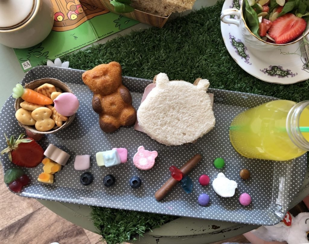 Childrens platter, tray with teddy bear sandwich, winnie the pooh afternoon tea