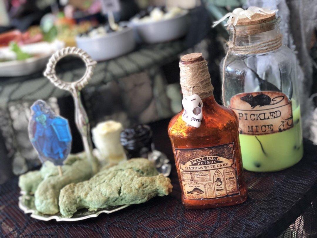 Green ghost scones with Halloween bottles