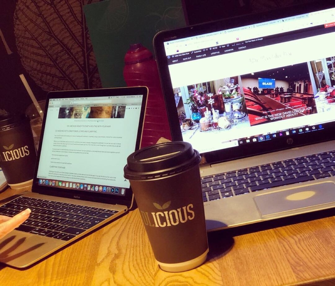 laptops and dlicious coffee cu, working at the gym