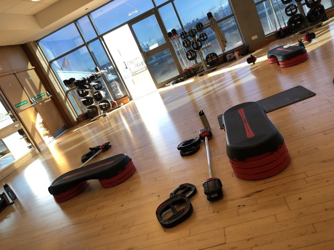 Fitness equipment set up for group exercise class at David lloyd gym, gym motivation