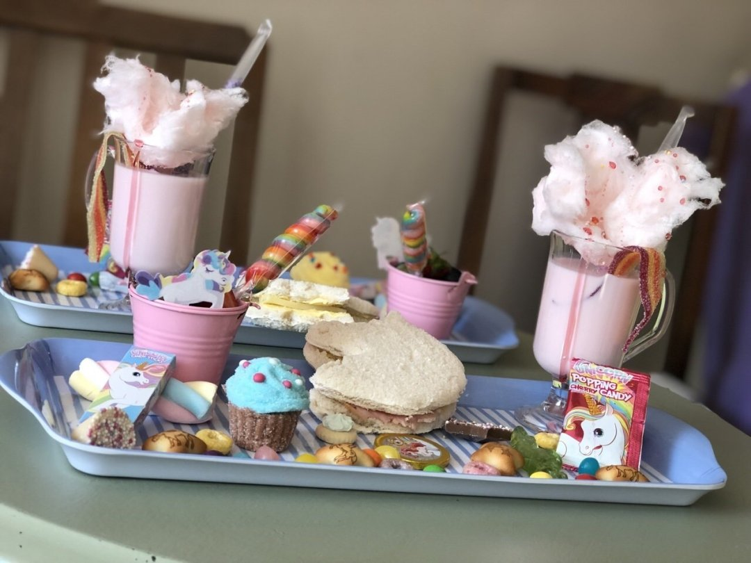 Children's unicorn platter with sandwiches and sweets