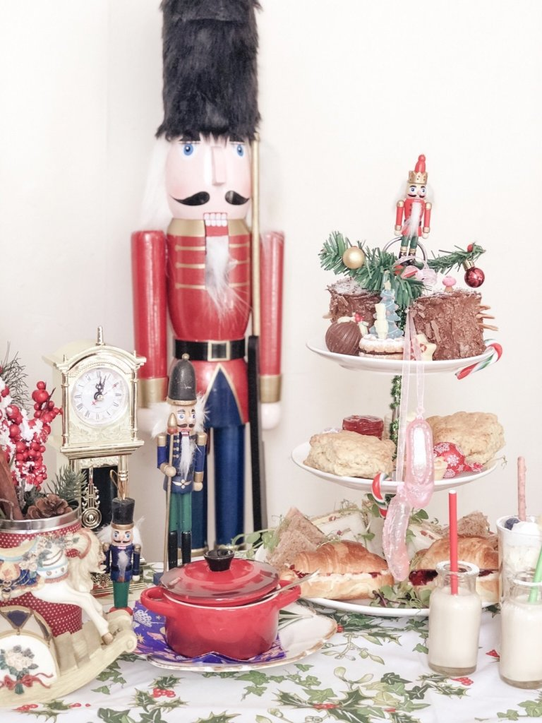 Nutcracker Afternoon tea on tea stand.