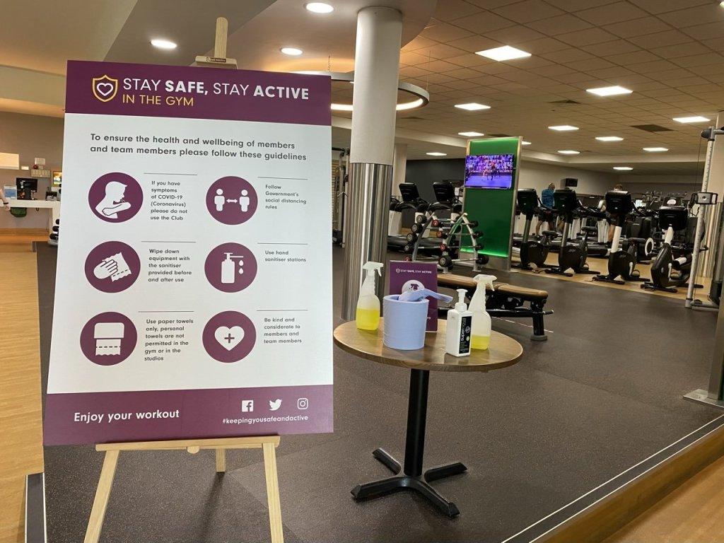 David Lloyd sanitising station at the gym after lockdown