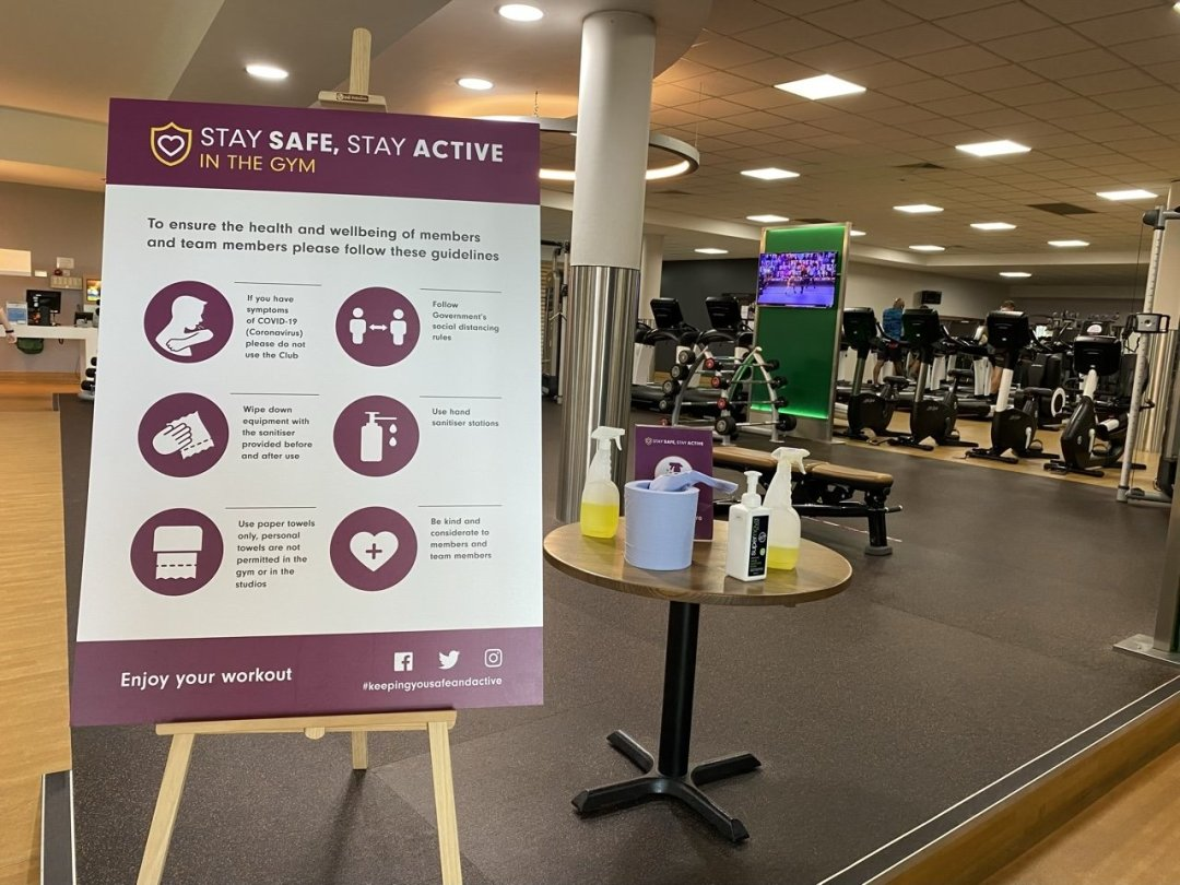 Sanitising stations at the gym after lockdown
