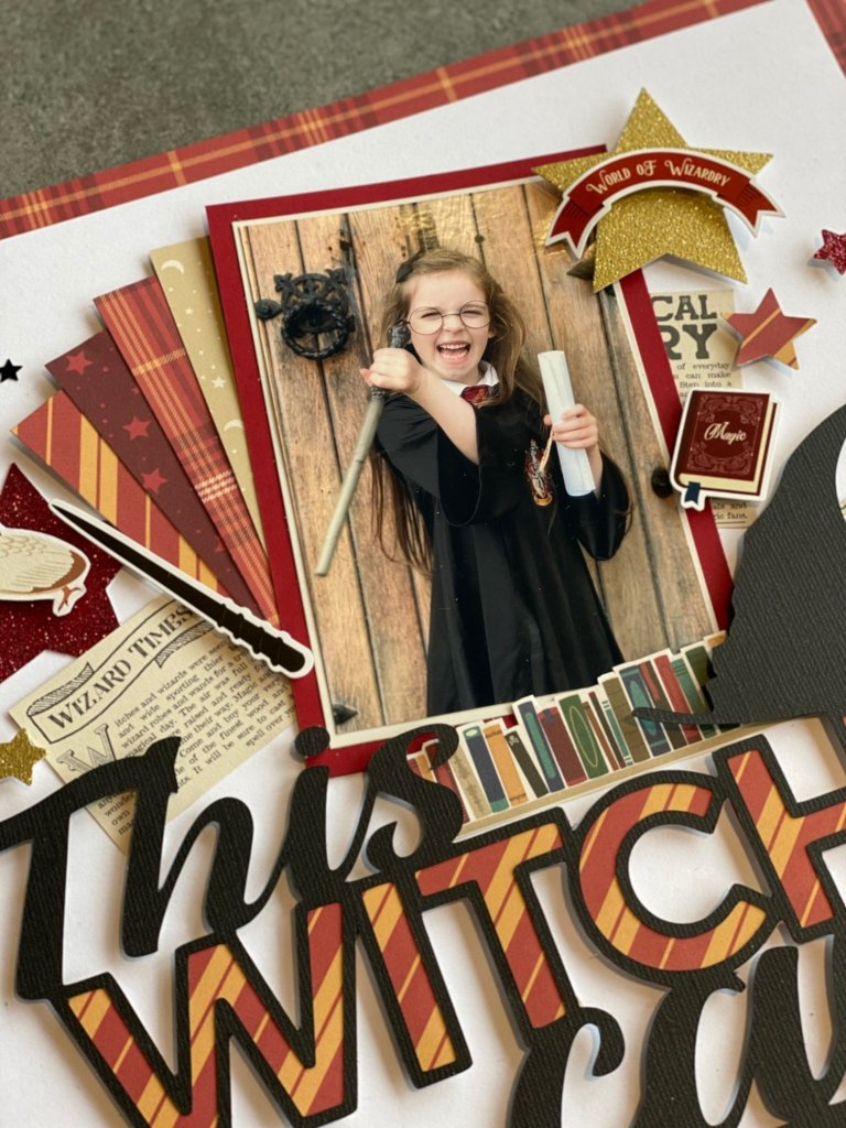 Close up of scrapbook page featuring harry potter themed cutfile, this witch can free png