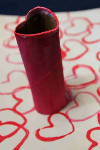 Heart Shaped toilet roll tube stamp Valentine's Day kids kraft by Hannah Elizabeth