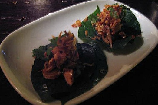 Chicken Betel Leaf with Smoked Eggplant Chilli and Eschalot Relish