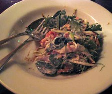 Poached Chicken and Crab Salad with Lemongrass Coconut Mint and Thai Basil