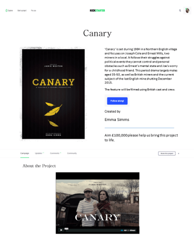 Kickstarter 'Canary' Mock-up