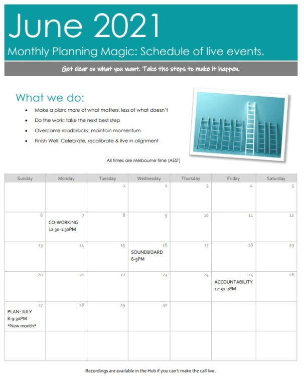A sample calendar showing an example of when the calls are typically scheduled