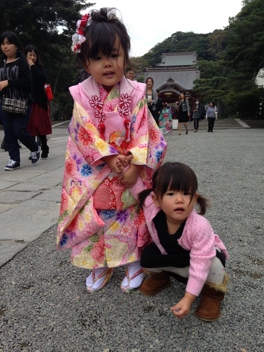 Little Japanese girls in Kimonos