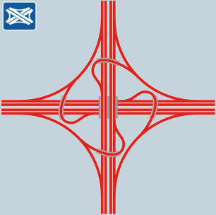 A turbine interchange pattern. Source: http://www.wegenwiki.nl/images/thumb/Windmolenknooppunt.svg/600px-Windmolenknooppunt.svg.png