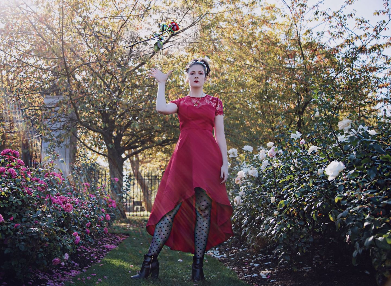 Kate Winney Queen of hearts Cosplay Alice In wonderland Little Miss Winney Chi Chi London ASOS Red Dress Crown Rose Garden London