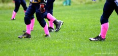 football, pee wee, pink socks, breast cancer awareness
