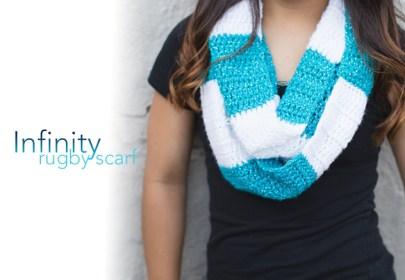 Infinity Rugby Scarf | Free infinity scarf crochet pattern by Little Monkeys Crochet