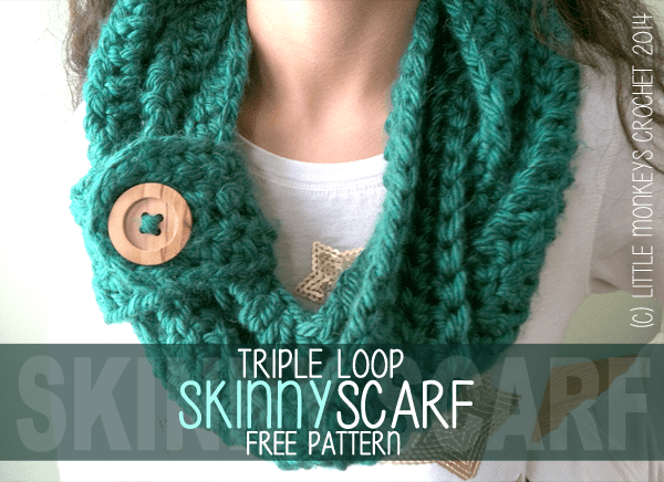 Free Crochet Pattern Triple Loop Skinny Scarf Infinity Style With