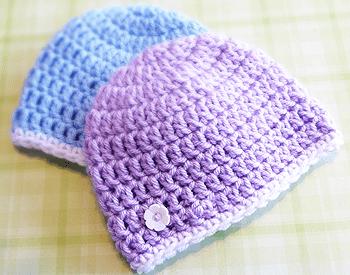 free crochet baby beanie hat patterns