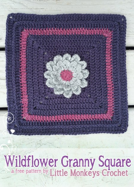"12"" Wildflower Granny Square from Square-A-Day CrochetAlong 