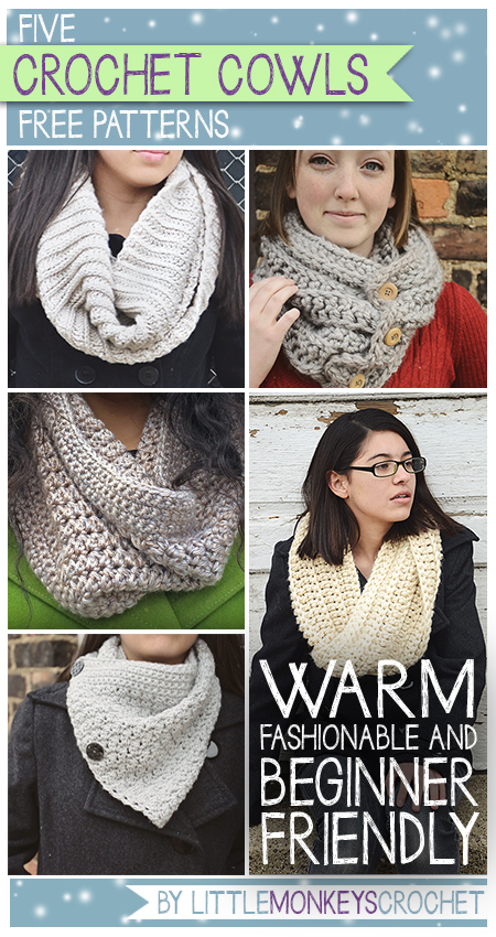 Click for 5 Free Cowl Crochet Patterns | Little Monkeys Crochet