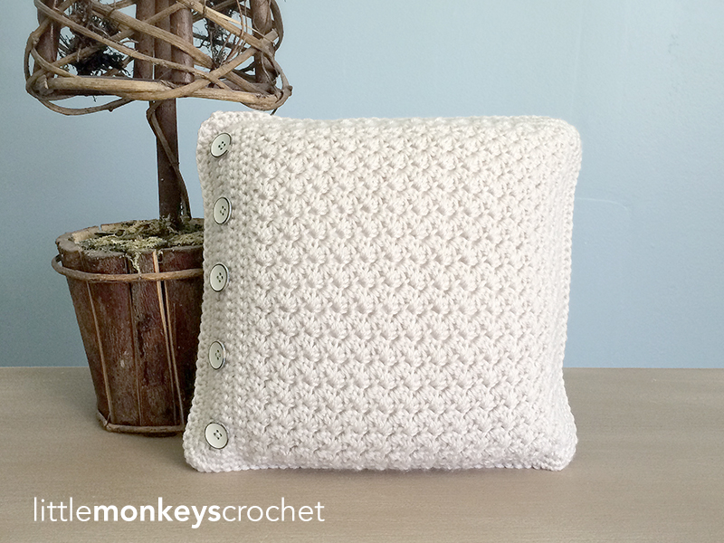 12″ Buttoned Throw Pillow | Little Monkeys Crochet