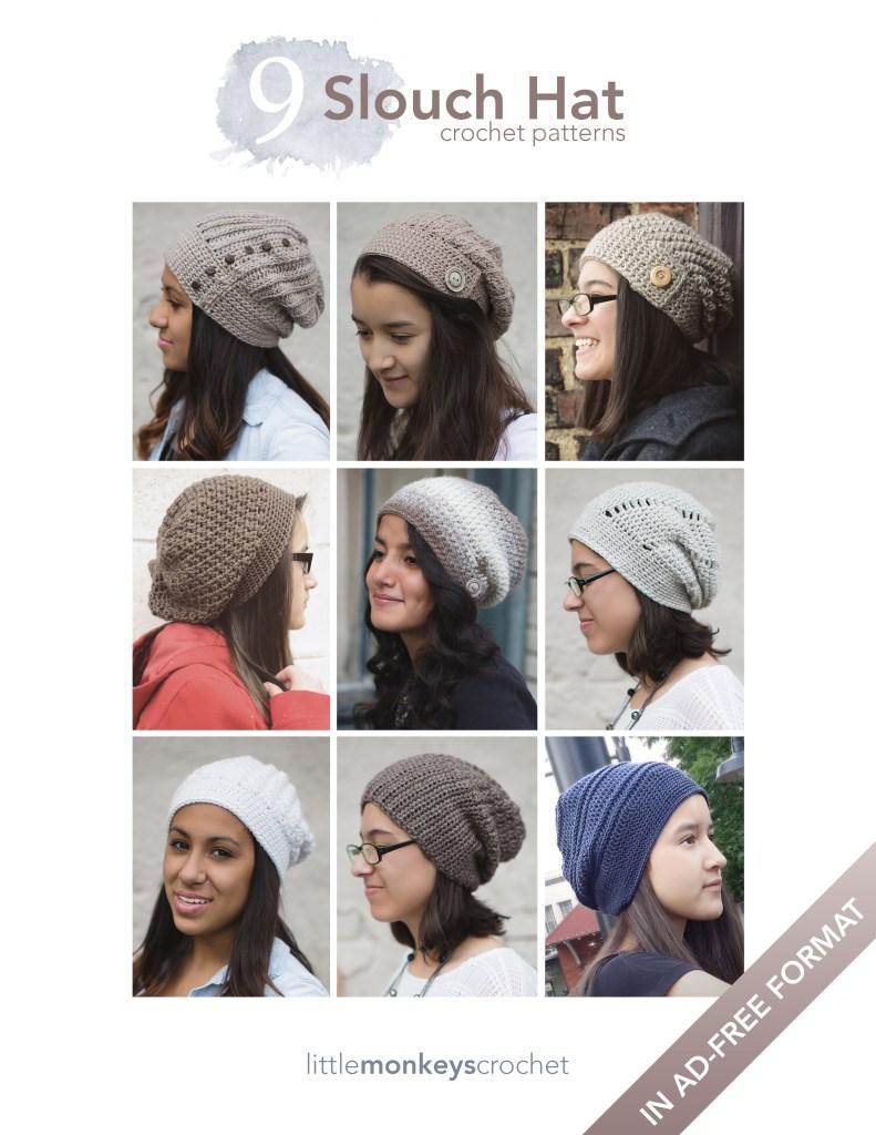 9 Slouch Hat Crochet Patterns E-Book | by Little Monkeys Crochet