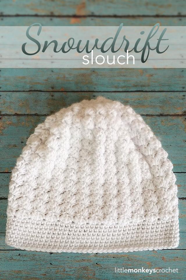 Snowdrift Slouch Crochet Hat   Free Slouchy Hat Crochet Pattern by Little Monkeys Crochet