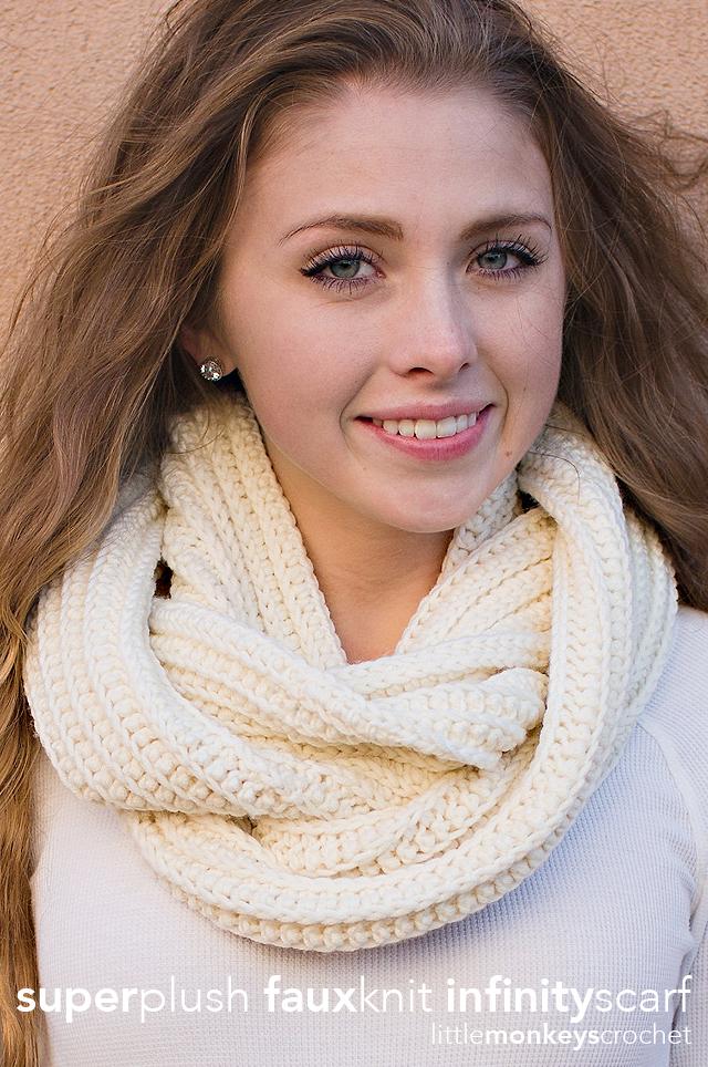 Super Plush Faux-Knit Infinity Scarf Crochet Pattern   Free Infinity Scarf Crochet Pattern by Little Monkeys Crochet
