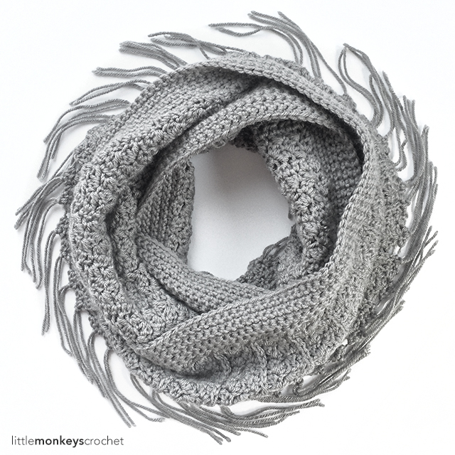 Yenni Fringe Infinity Scarf Crochet Pattern | Free Infinity Scarf Crochet Pattern by Little Monkeys Crochet