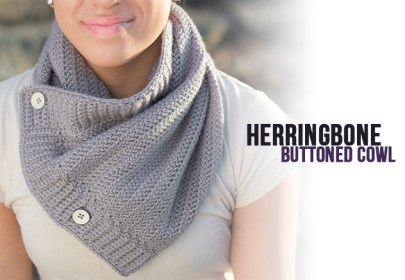 Herringbone Buttoned Cowl Crochet Pattern  |  Free button cowl crochet pattern by Little Monkeys Crochet