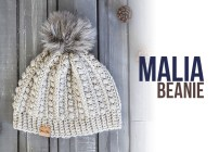 Malia Beanie | Winter Hat Crochet Pattern by Little Monkeys Crochet | Malia CAL 2017
