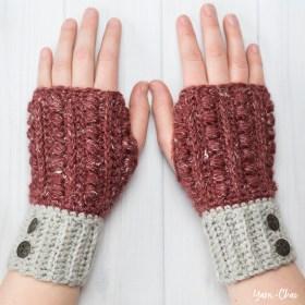 Malia Wrist Warmers | Winter Wristers Fingerless Gloves Crochet Pattern by Little Monkeys Crochet | Malia CAL 2017