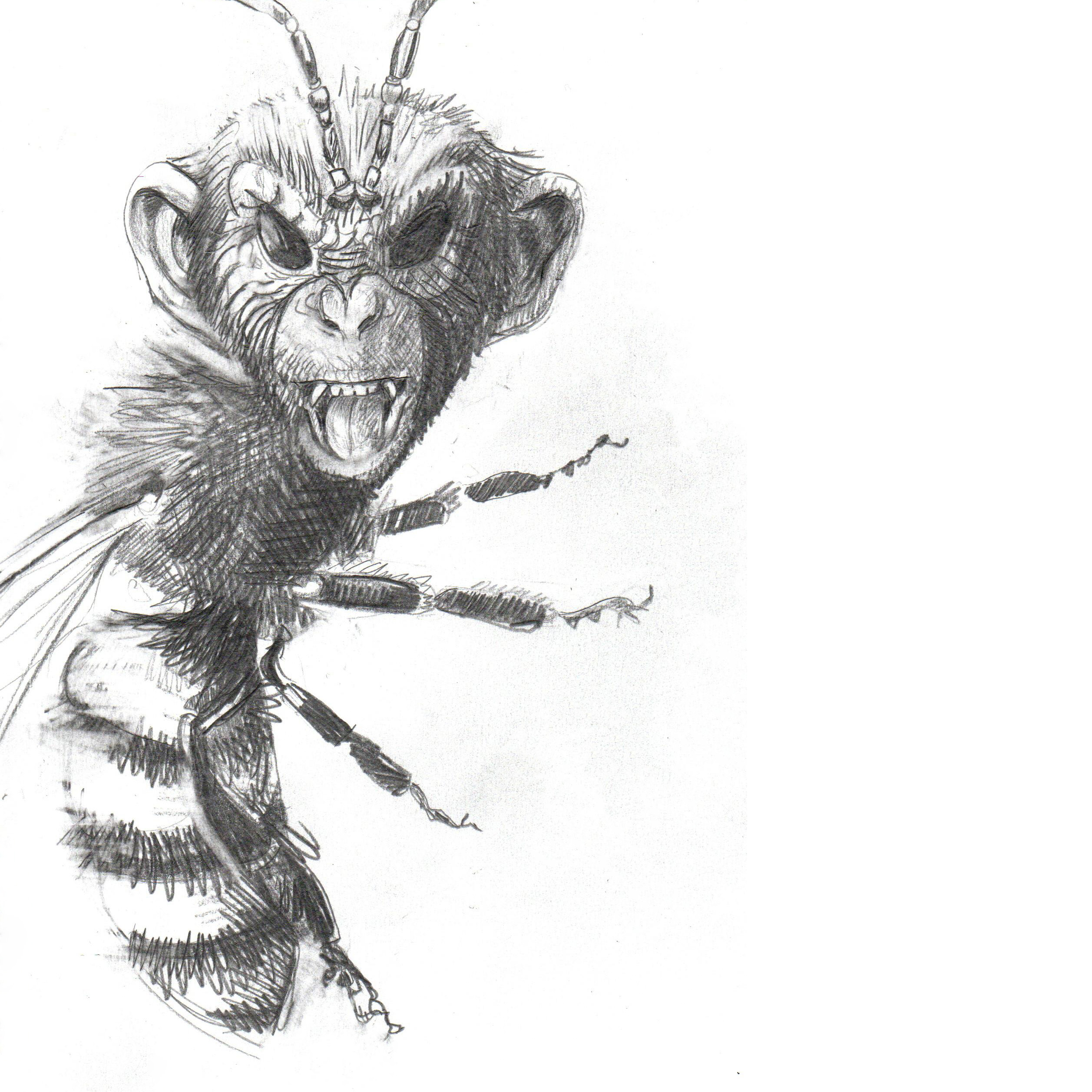 ChimpanBee Mashup pencil drawing Chimpanzee and Bee