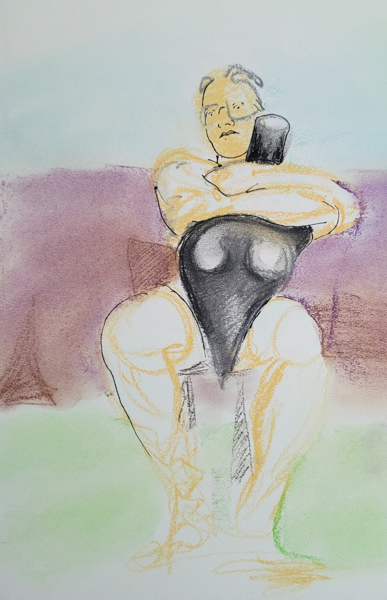 Five Minute Pose - Gila - Soft Pastels and Pen - Composition in Thirds